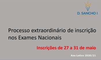 Processo extraordinário de inscrição nos Exames Nacionais