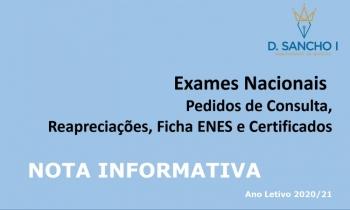 Exames Nacionais - Nota Informativa